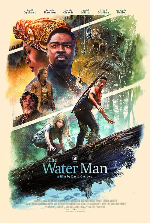 Various cast members on water man poster